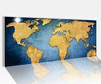 Globus Karte.Amazon De Acrylglasbild 100x40cm Weltkarte Welt Europa