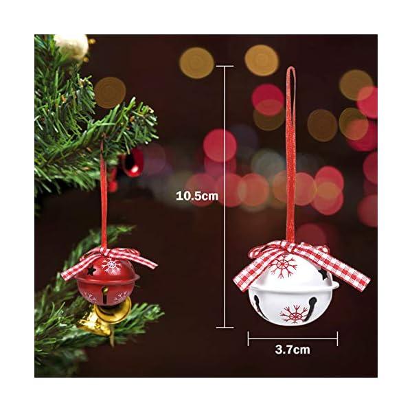 LEMESO 12 pz Campane Campanellini di Natale Decorazione per Albero Natalizio Ornamenti Abbellimenti Festivi Festa Metallo per Casa Rosso Bianco Fiocchi di Neve 2 spesavip