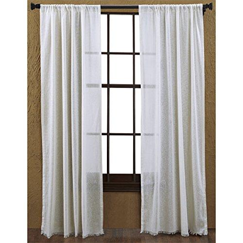 Tobacco Curtain Panel - VHC Brands Coastal Farmhouse Window Curtains - Tobacco Cloth White Fringed Curtain Panel Pair, Antique White