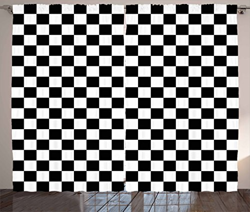 Ambesonne Checkers Game Curtains, Geometric Grid Style Monochrome Squares in Traditional Game Board Design, Living Room Bedroom Window Drapes 2 Panel Set, 108 W X 84 L Inches, Black White