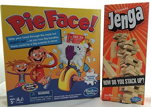 Pie Face Game, Jenga Stacking Game, by Hasbro Family Games for Kids and Adults (Bundle 2 pcs)