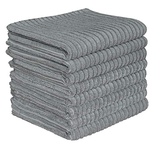 (Gryeer Microfiber Kitchen Towels - Super Absorbent Dish Towels - One Side Ribbed One Side Smooth Tea Towels, 26x18 Inch, Pack of 8, Gray)