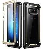 i-Blason Funda Samsung Galaxy Note 8, Ares con Protectores de Pantalla incorporados para Samsung Galaxy Note 8 (2017), Transparente (Negro/Oro)