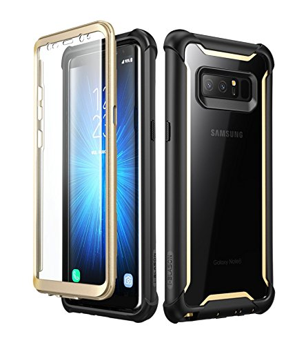 i-Blason Case for Galaxy Note 8 2017 Release, [Ares Series] Full-body Rugged Clear Bumper Case with Built-in Screen Protector (Black/Gold) (Best Keyboard For Samsung Note 8)