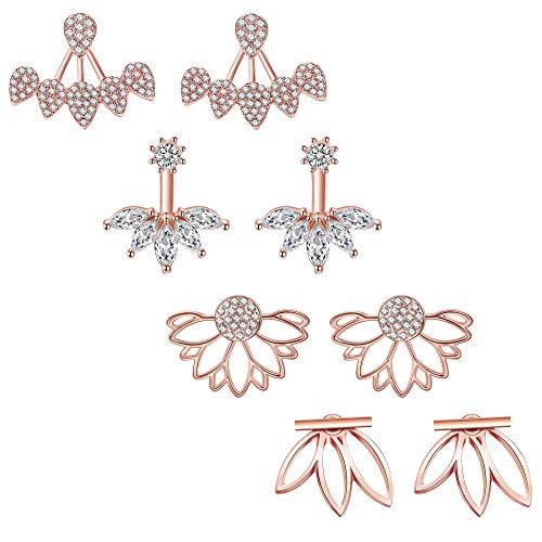 (JieyueJewelry 4 Pairs Lotus Flower Earrings Stud Jacket Earrings Simple Chic Earrings Back Cuffs Stud Earring sets for Women Girls(Rose Gold))