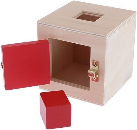 T TOOYFUL Juguete Educativo Montessori De Madera, Caja De Cerradura De Madera Colorida (6 Tipos De Cerraduras para Elegir), Juego De Rompecabezas De Bloques De - Rojo: Amazon.es: Juguetes y juegos