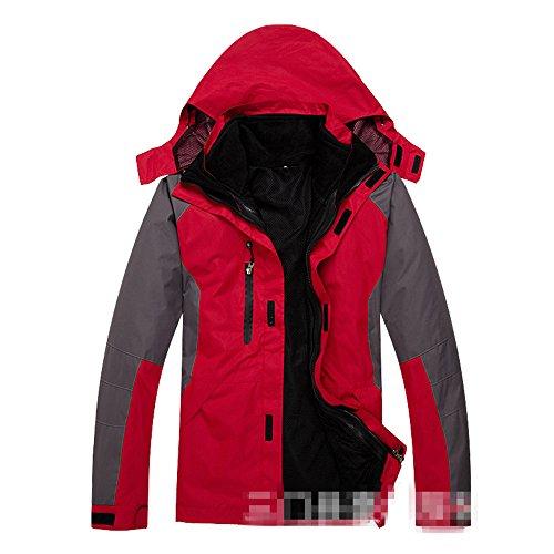 Removable Waterproof Liner - Hanxue Mens Hiking Ski Jacket Softshell 3 in 1 Hiking Raincoat Plus Size Men Waterproof Sportswear with Removable Liner (001 Red, L)