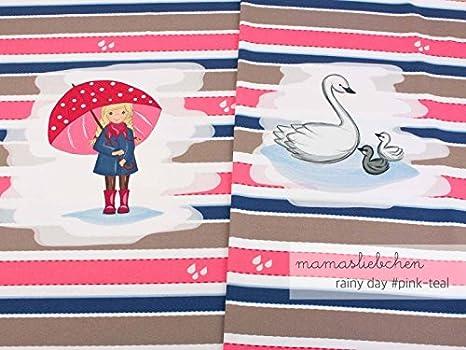 Mamasliebchen Jersey-Stoff Meterware Rainy Day #pink Teal ca. 0,55m - 1 Panel