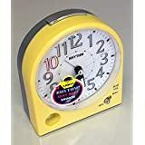 RHYTHM Metallic Yellow Alarm Clock, Silent Sweep No Tick, Beep Alarm Snooze and Light by RHYTHM