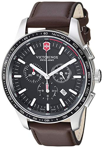 - Victorinox Men's Alliance Stainless Steel Swiss-Quartz Leather Strap, Brown, 21 Casual Watch (Model: 241826)