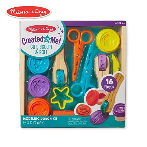 Play Toys Dough - Melissa & Doug Cut, Sculpt, and Roll Clay Play Set With 8 Tools and 4 Colors of Modeling Dough