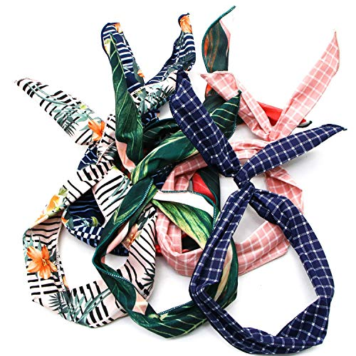 - JETEHO Pack of 6 Boho Twist Bow Wired Headbands for Women, Vintage Flower Printed Hair Band Wire Head Wrap air Accessories
