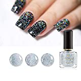 Born Pretty Holographic Sequins Nail Polish Galaxy Glitter Top Coat Holo Shining Lacquer Black Datura Series Nail Varnish