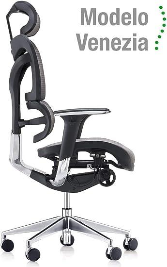 Silla ergonómica de oficina Modelo Venezia. Cuida de tu cuello, espalda y lumbares.: Amazon.es: Oficina y papelería