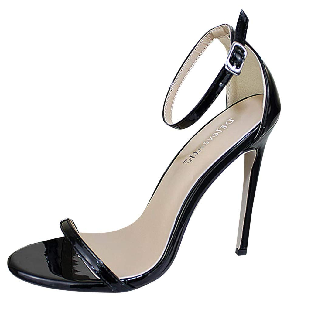 kaifongfu Women's Ankle Strap High Heels Open Toe Pump Sandals Ankle Strap Dress Chunky Heel Strappy Sandals Shoes(Black,35)