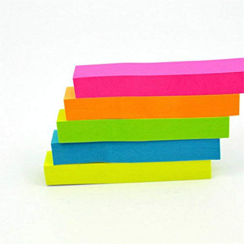 5 Pack 500 Sheets Index Flags Tabs Colored Fluorescent Sticky Notes Writable Tabs for Page Marker - 5 Color Durable and Useful