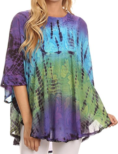 Sequin Tie Dye - Sakkas 14031 - Ellesa Ombre Tie Dye Circle Poncho Blouse Shirt Top with Sequin Embroidery,Purple / Turquoise,One Size Regular