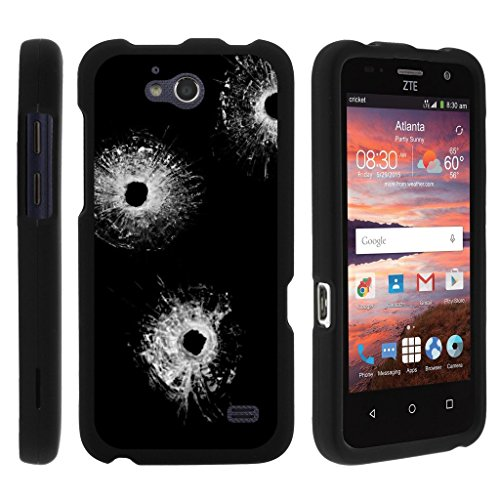 [ZTE Atrium case for girls, ZTE Scend case for boys][Snap Shell] 3 IN 1 Combo – Slim Fitted Case + Screen Film + Stylus by Miniturtle – Bullet Holes