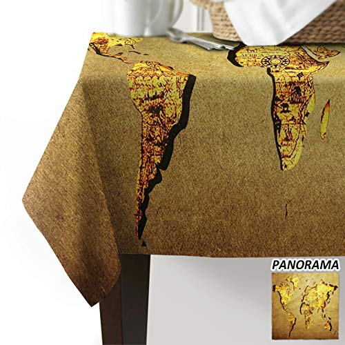 EZON-CH Vintage Nostalgic World Map with Kraft Paper Map Design Yellow Cotton Linen Tablecloth Table Cover Cloth for Home Kitchen Hotel Cafe Restaurant Party Desk Tablecloth Covers 53 x 70 Inch