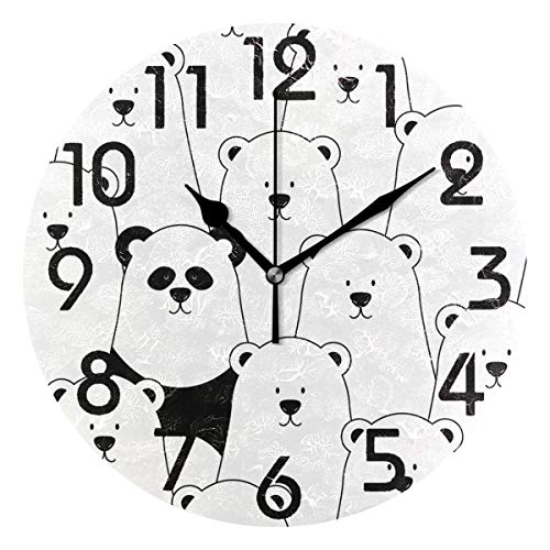 Naanle Lovely White Polar Bears and Panda Cute Design Round Wall Clock, 9.5 Inch Battery Operated Quartz Analog Quiet Desk Clock for Home,Office,School(White Black)