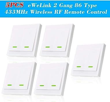 5PCS eWeLink Pulsador de Pared Interruptor de luz Interruptor Remoto 2 Gang 86 Tipo Panel de interruptores de Encendido/Apagado 433MHz Transmisor de Control Remoto RF inalámbrico con Etiquetas: Amazon.es: Bricolaje y herramientas