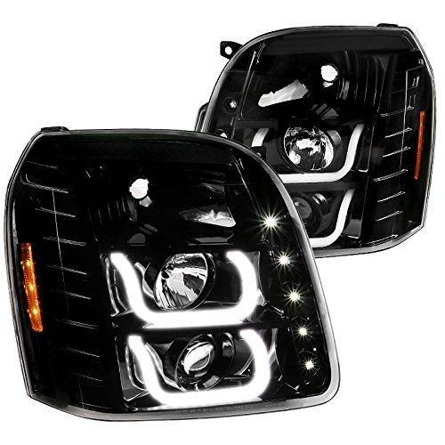 - GMC Yukon Denali XL Jet Black LED Halo Clear Projector Headlights Head Lamps