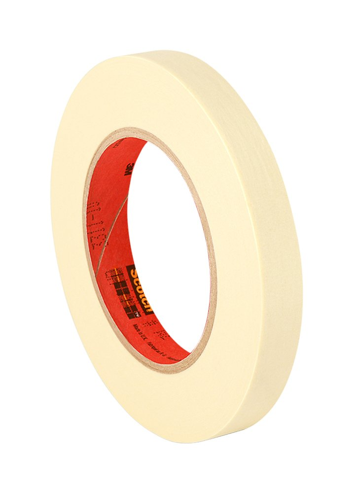 """3M 201+ 0.75"""" x 60yd General Use Masking Tape - 0.75"""" x 60 Yards Roll, Crepe Paper, Natural"""