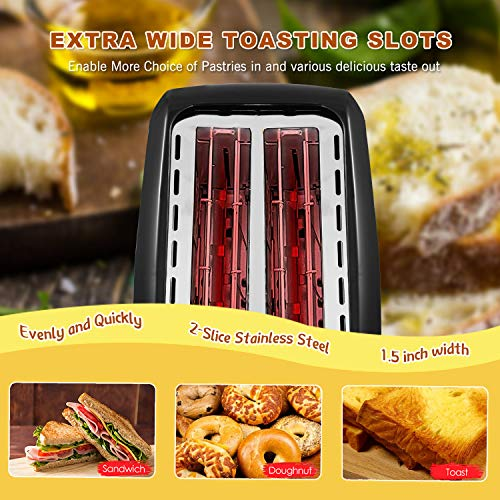 Toaster 2 Slice Wide Slot 2 Slice Toasters Best Rated Prime with Bagel/Defrost/Cancel Function, Balck Toaster Removable Crumb Tray