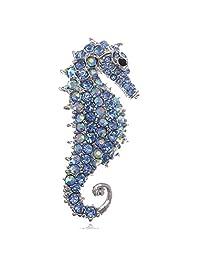 Blue Crystal Rhinestone Sea Horse Collar Brooch Pin Wedding Bridal Gift
