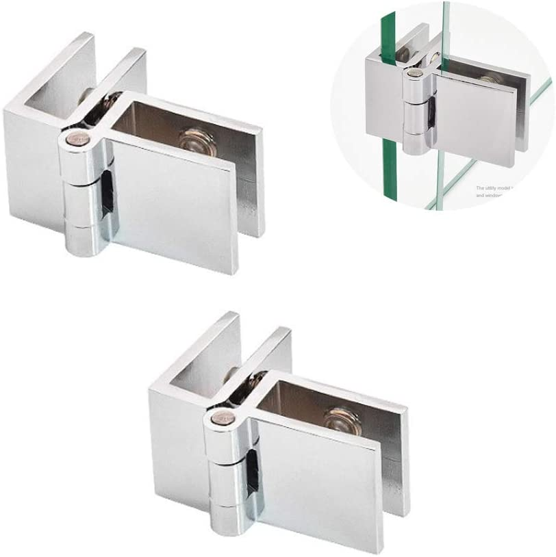 2 Piezas Bisagra de Clip de Puerta de Vidrio, Bisagras para Abrazaderas de Puertas de Vidrio de Vitrinas, Bisagras Fijas Plegables de 90 °, Accesorios de Puertas de Vidrio, Adecuado para 5-8mm Vaso
