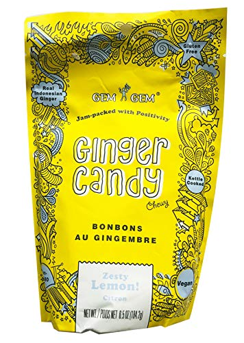 Gem Gem Chewy Ginger Candy 6.5 oz Pack Of 3! 3 Flavors, Original Ginger, Zesty Lemon and Mango! Vegan, Gluten Free and Non-GMO! Natural and Healthy Chewy Ginger Candy Chews!