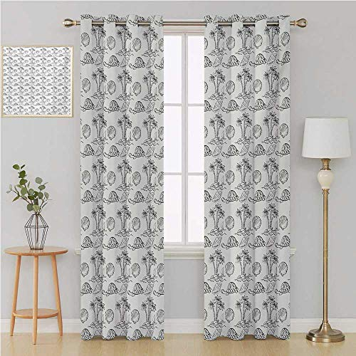 Benmo House Sketch Gromit Curtains Waterproof Window CurtainSea Island with Palm Trees Boat Turtles Shells Hawaiian Ecology Turtles Scallopsdoorway Curtain 120 by 108 InchBlack White