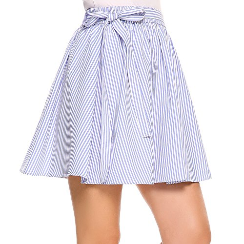 (Zeagoo Womens Elastic Waist Tartan Pleated School Skirt,Light Blue,X-Large)