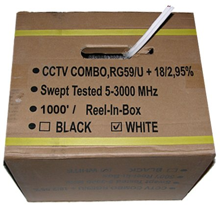 - 1000' CCTV Cable RG-59U 18/2 Siamese Power/Video Cable White