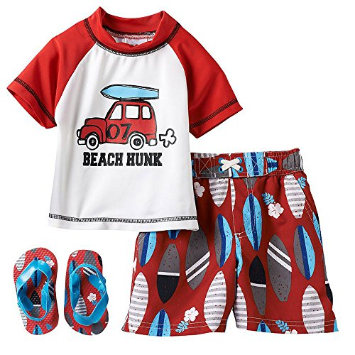 Wippette Baby Boys' Beach Hunkrash Set, Red, 24 Months