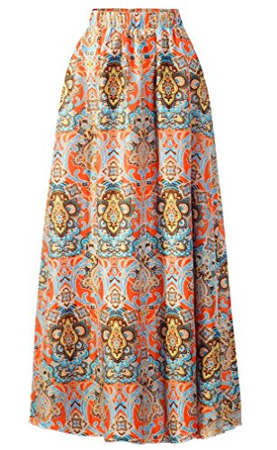 (Pretchic Women's Blossom Floral Print Chiffon African Maxi Long Skirt Multicolor2 XX-Large)