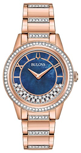 Ladies' Bulova Crystal Rose Gold-Toned Turnstyle Watch 98L247 -