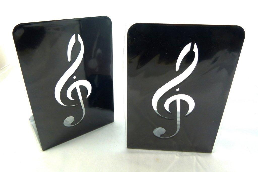 Musica a tema fermalibri - Una coppia di nero solido Chiave di violino Metal Design Basamento di libro (2 pezzi) FunMusicOnline