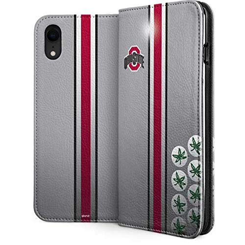 Skinit Ohio State University iPhone XR Folio Case - Officially Licensed Ohio State University Phone Case - Faux-Leather Wallet iPhone XR Cover