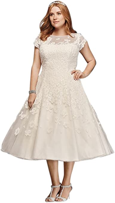 Plus Size Oleg Cassini Cap Sleeve Tea Length Wedding Dress Style 8cmk513 At Amazon Women S Clothing Store