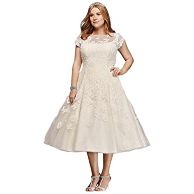 Davids Bridal Plus Size Oleg Cassini Cap Sleeve Tea Length Wedding