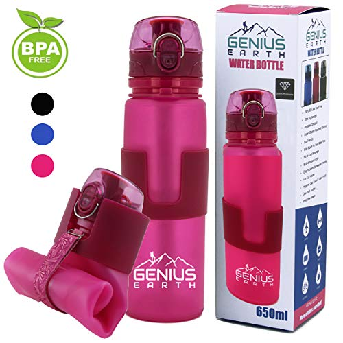 FOLDABLE WATER BOTTLE - Collapsible, Portable, Silicone Drink Bottle for Hiking, Sports & Travel. Lightweight, Reusable Bottles for Men, Women and Kids. BPA Free. 22oz (Pink with Safe Lock Metal Clip)