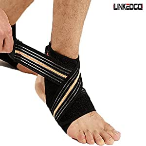 LinkedGo Ankle Compression Support Breathable Ankle Brace for Running Basketball Ankle Sprain Fatigue (One Size) (Left)