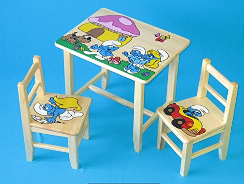 Set in legno tavolino con 2 sedie per cameretta bambini. M5. Ottima idea regalo.Completo in pino con disegno a mano. ipp
