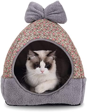 Dark Blue 15 x 15 x 15 inches 2 in 1 Foldable Comfortable Triangle Nest Tent House for Summer Hollypet Cooling Pet Bed for Cats and Small Dogs