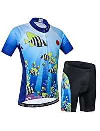 Weimostar Kids Cycling Jersey Short Set Girls Boys Children Bike Gel Padded Bicycle