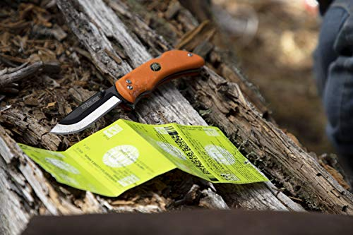 Outdoor Edge RazorPro, RO-20, Replaceable Razor Blade Hunting Knife with Gutting Tool, Blaze Orange Handle with Mossy Oak Sheath and 6 3.5 Inch Blades by Outdoor Edge (Image #1)