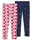 Carters Little Girls Heart Design Leggings - 2 Pairs (8)