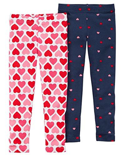 Carters Little Girls Heart Design Leggings - 2 Pairs (Pink Heart Leggings)