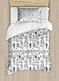 Ambesonne Movie Theater Twin Size Duvet Cover Set, Hand Drawn Style Cinema Pattern with Various Different Icons Black and White, Decorative 2 Piece Bedding Set with 1 Pillow Sham, Black White